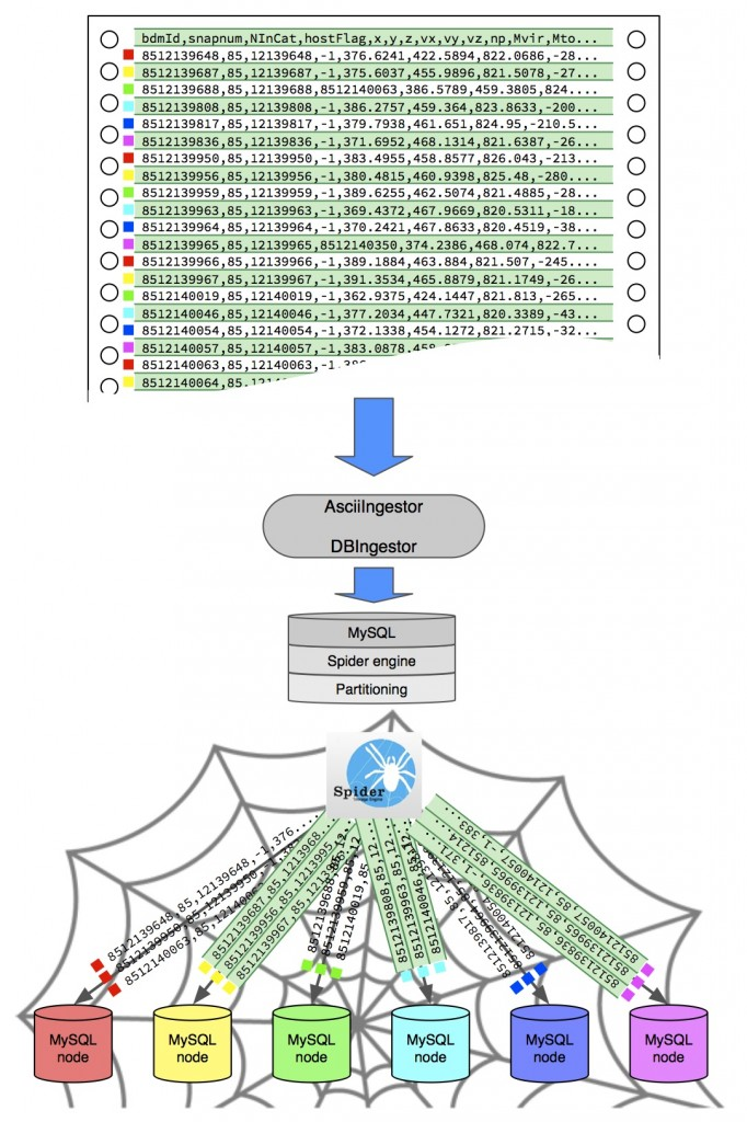 Distributing scientific data tables to different database nodes using the MySQL Spider engine. For detailed technical details, refer to the technical description of PaQu.